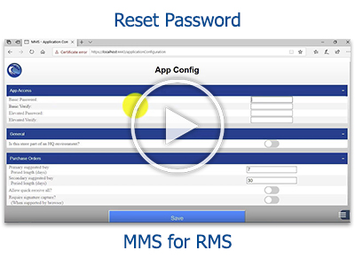 Tutorial: Reset Password in MMS for RMS