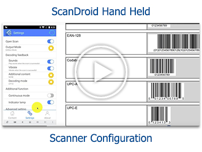 Tutorial: Barcode Settings Configuration on the ScanDroid Hand Held